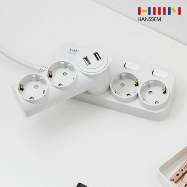 한샘 솔리드 USB 2포트 2구 일자 어댑터 (그레이)