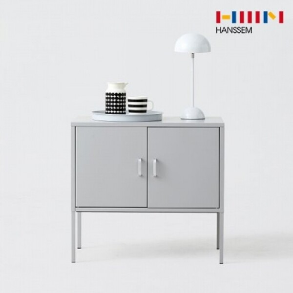 한샘 재크 철제 미니 수납장-양문형(라이트그레이)