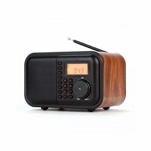 아이원 블루투스 스피커 FM라디오 휴대용 캠핑용 시계기능 IONE-600 우드