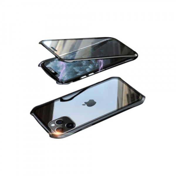 뮤즈캔 아이폰11 360도 전면 마그네틱 디펜스 풀커버 글라스 케이스 (블랙블랙)