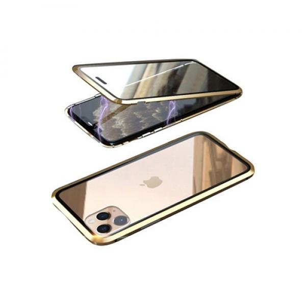 뮤즈캔 아이폰11 360도 전면 마그네틱 풀커버 글라스 케이스 (골드)
