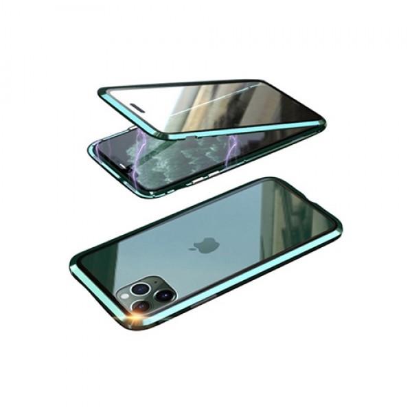 뮤즈캔 아이폰11 360도 전면 마그네틱 풀커버 글라스 케이스 (미드나이트그린)
