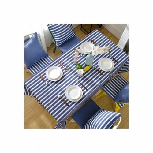 블루 스트라이프 방수 식탁보 130x180(cm)
