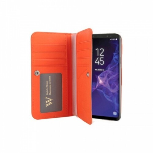 우진인터내셔널 더블유케이스 갤럭시S9 오렌지 양면지갑 폰케이스